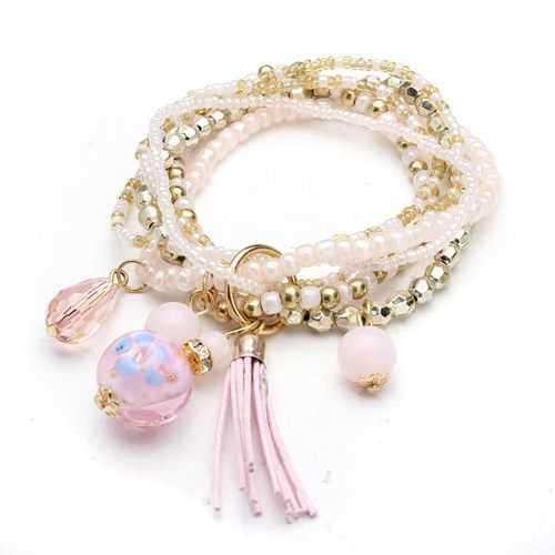 Multilayer Beads Tassel Charm Strand Stretch Bracelet For Women