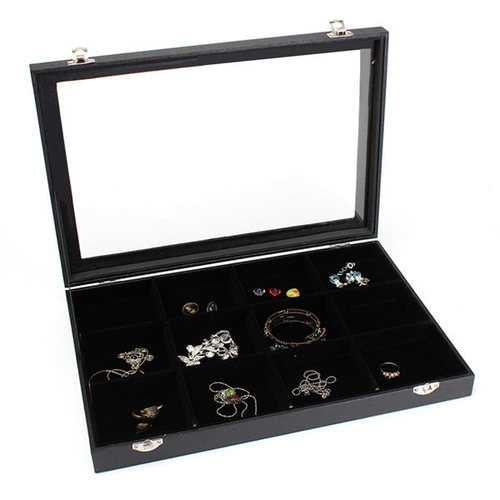 12 Grids Jewelry Tray Storage Box Necklaces Earrings Bracelets Showcase