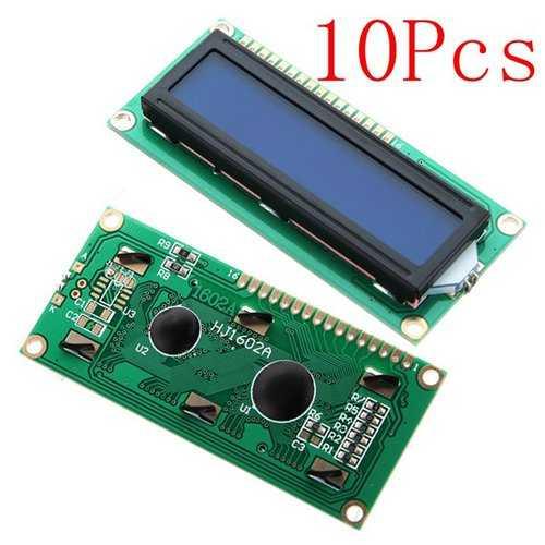 10Pcs 1602 Character LCD Display Module Blue Backlight