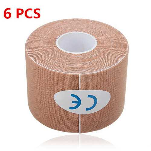 6PCS Apricot Sports Kinesiology Tape Muscles Care Therapeutic Bandage
