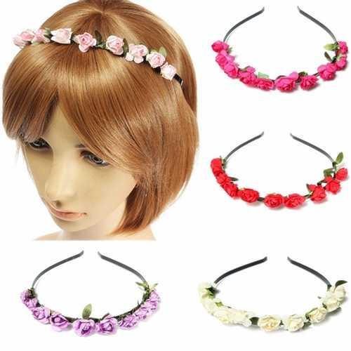 Boho Holiday Wedding Floral Rose Flower Garland Hair Head Hoop Band