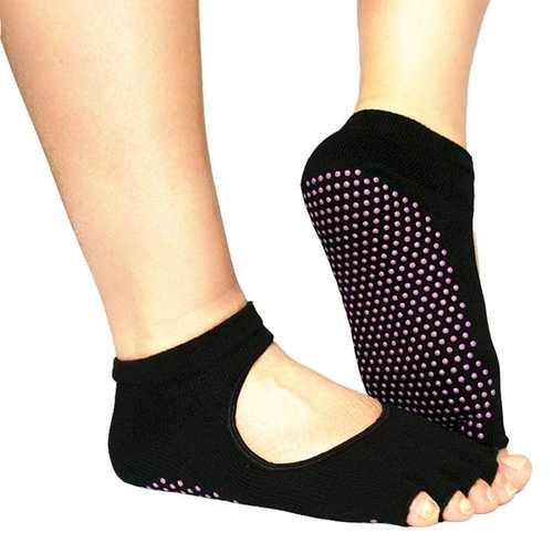 Black Indoor Backless Cotton Anti-Slip Breathable Non-Slip Yoga Socks