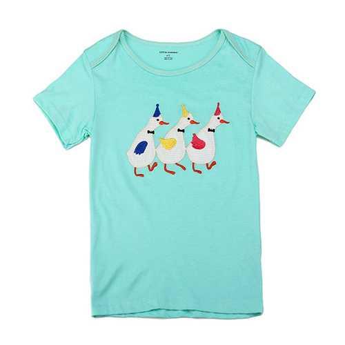 2015 New Little Maven Lovely Swan Baby Children Boy Cotton Short Sleeve T-shirt Top