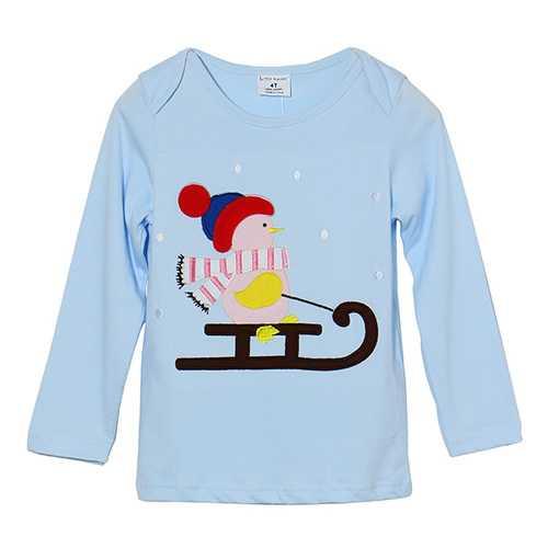 2015 New Little Maven Lovely Snowman Baby Children Boy Cotton Long Sleeve Top