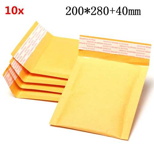 10pcs 200*280mm+40mm Bubble Envelope Yellow Color Kraft Paper Bag Mailers Envelope