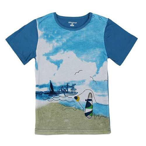 2015 New Little Maven Blue Sky Sea Baby Children Boy Cotton Short Sleeve T-shirt Top