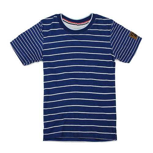 2015 New Little Maven Blue White Stripe Baby Children Boy Cotton Short Sleeve T-shirt