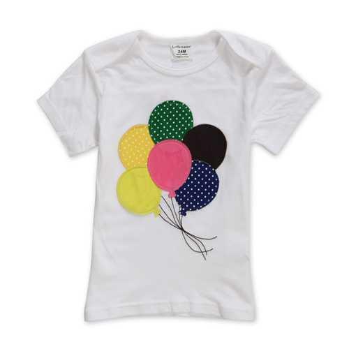 2015 New Little Maven Summer Baby Girl Children Balloon White Cotton Short Sleeve T-shirt
