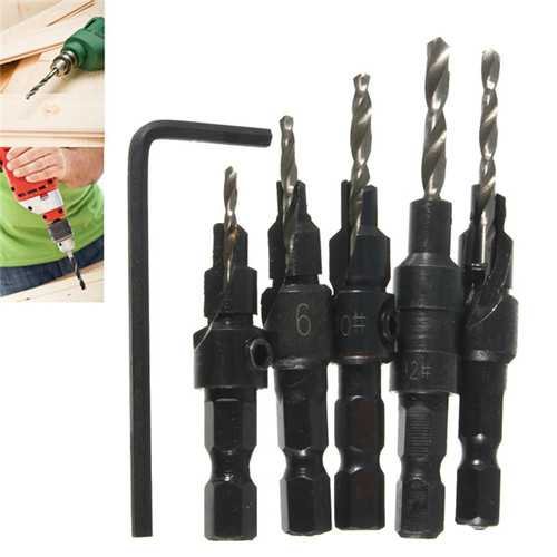 5pcs Hss Countersink Drill Cone Bit Set Quick Change Hex Shank Woodworking Screw Reamer