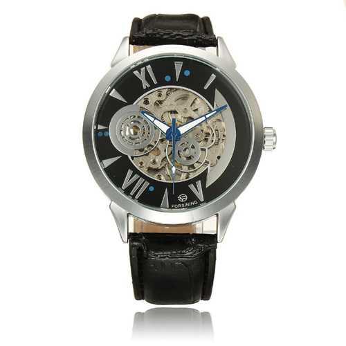 Forsining 897 Black White Leather Band Mechanical Wrist Watch