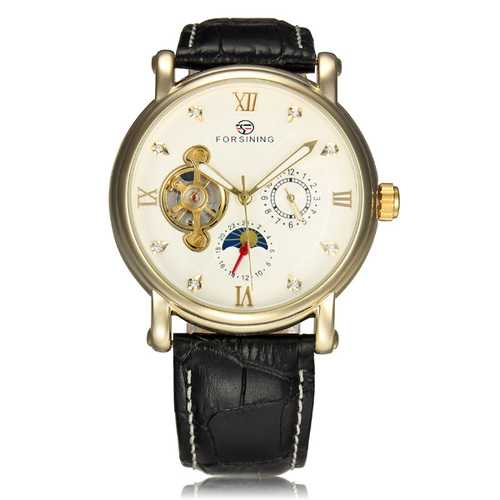 Frosining 800 Gold Case Mechanical Leather Band Wrist Watch