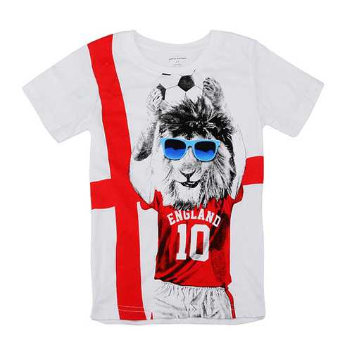2015 New Little Maven Lovely Spectacled Dog Baby Children Boy Cotton Short Sleeve T-shirt