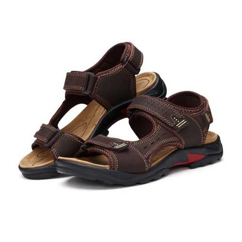 Large Size Summer Men Leather Sandals Leather Breathable Sandals Outdoor Beach Shoes