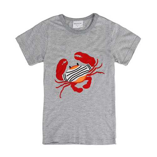 2015 New Lovely Crab Baby Children Boy Pure Cotton Short Sleeve T-shirt Top