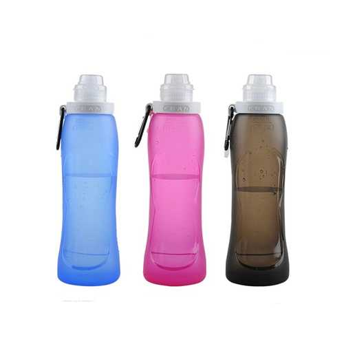 500ml Foldable Silicone Water Bottle Portable Folding Kettle For Cycling Outdoor Sports