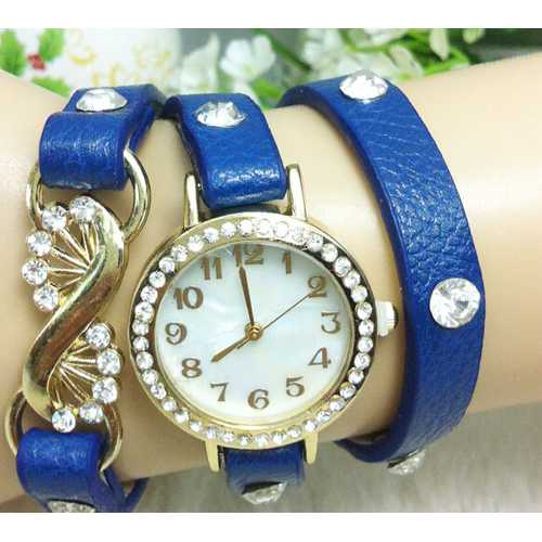 Casual Crystal PU Leather Band Little Case Women Bracelet Watch