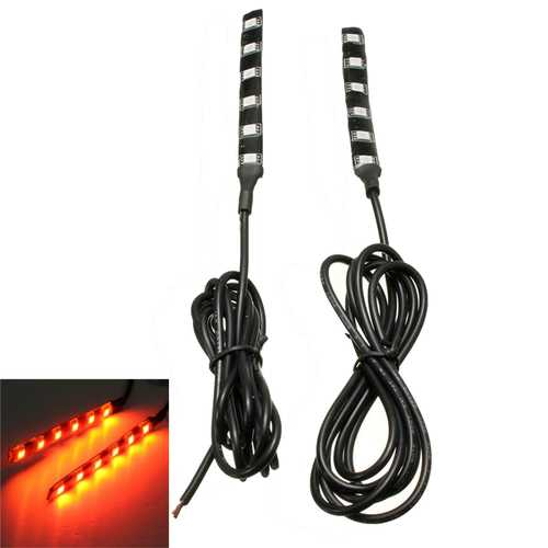 2pcs Universal Amber 6 LED Motorcycle Strip Turn Signal Indicator Blinker Light