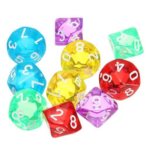 10-Pcs D10 Ten Sided Gem Dice Die for RPG Dungeons & Dragons Games Set