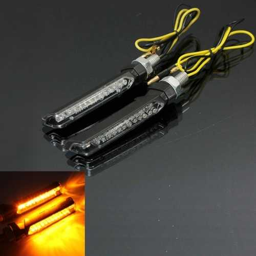 12V 13 LED Turn Signal Lights Motorcycle SUV ATV Amber Indicator E-mark Universal