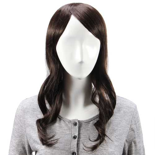 Virgin Remy Medium Brown Side Bang Long Capless Mono Top Human Hair Wig