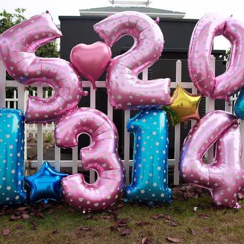 """""""New"""" 40 Inch Pink Balloons New Year 2015 Digital Aluminum Film Wedding Party Decoration"""