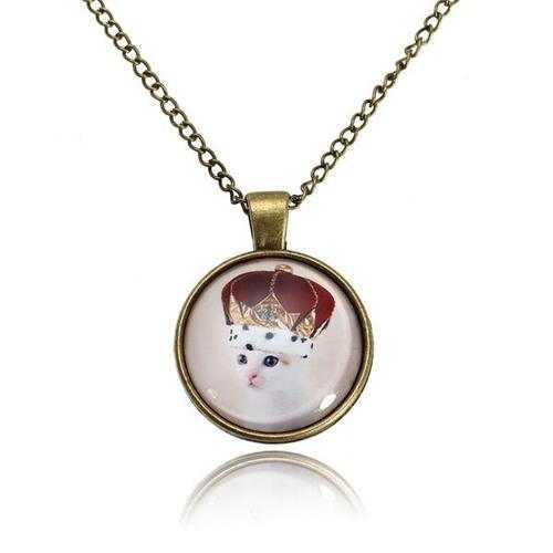 Cute Cat Glass Cabochon Bronze Chain Pendant Necklace For Women