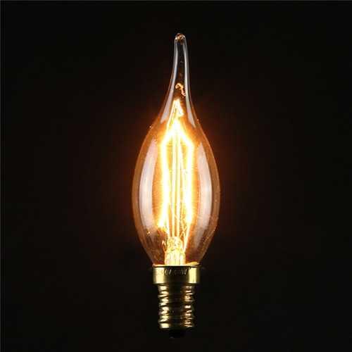 C35 40W E14 Vintage Antique Edison Carbon Filamnet Clear Glass Bulb 110-120V
