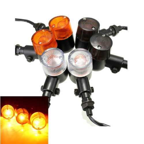 Emark Universal 12V Alloy Motorcycle Turn Signal Indicators Amber Light 3 Len Color