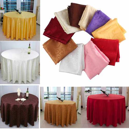 120cm Polyester Absorbent Round Tablecloth For Hotel Restaurant Wedding