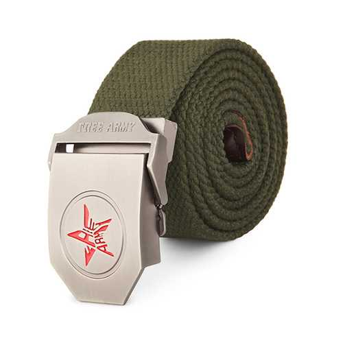 120CM Men Canvas Belt Pentastar Thickening Alloy Buckle Pants Strip