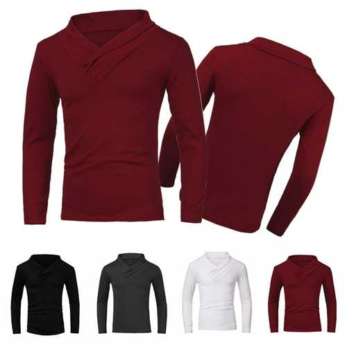 Men Spring Fall Cotton Polyester Solid Long Sleeve V-neck Pure Color T-shirt