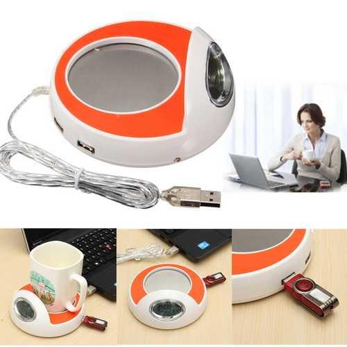 4 Port USB Hub Coffee Milk Cup Mug Warmer Pad with Blue LED Backlight For PC Laptop