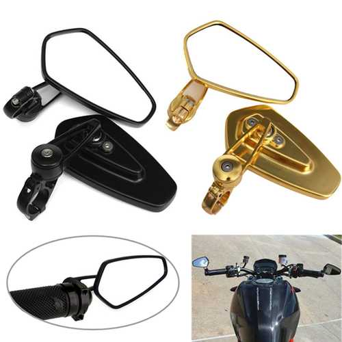 7/8 Inch Universal Aluminum Motorcycle Rear View Mirrors Side Handlebar End Oval