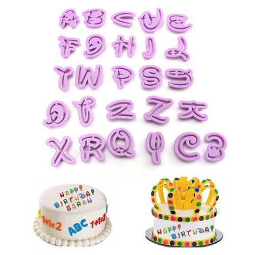 26PCS Plastic Alphabet Cookie Cutter Letter Biscuit Fondant Mold Cake Decorating Tool