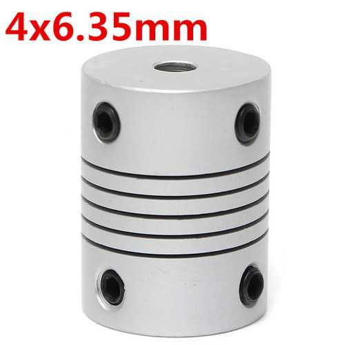 4mm x 6.35mm Aluminum Flexible Shaft Coupling OD19mm x L25mm CNC Stepper Motor Coupler Connector