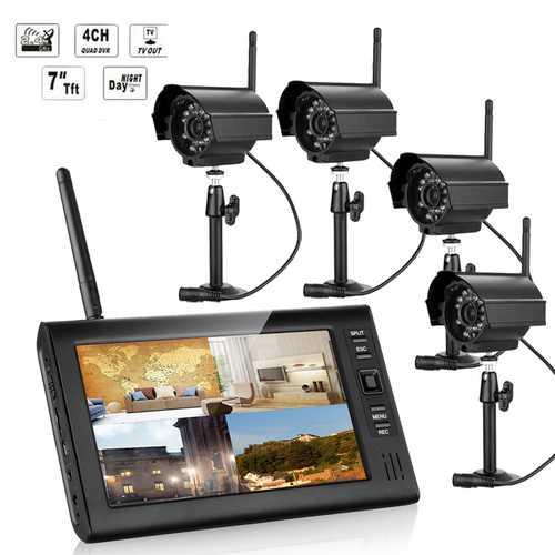 ENNIO SY602E14 7 inch TFT Digital 2.4G Wireless Audio Video 4CH Quad DVR Security System With 4 Cameras