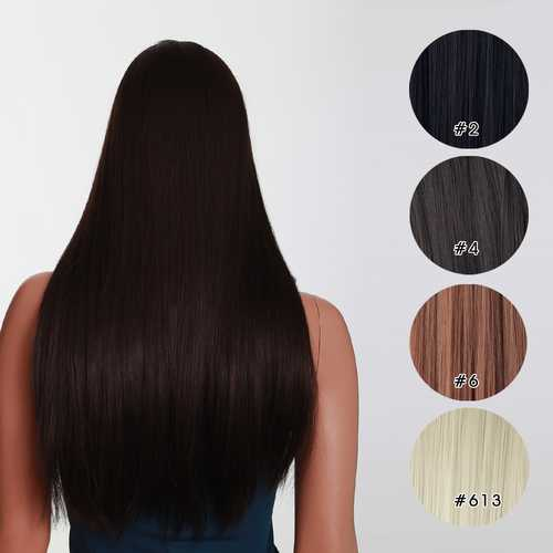 7Pcs NAWOMI Heat Resistant Friendly Clip In Synthetic Fiber Hair Extension 17.72 Inch Light Brown