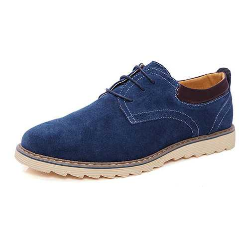 Big Size New Autumn Men Lace up Suede Casual Flat Sports Shoes