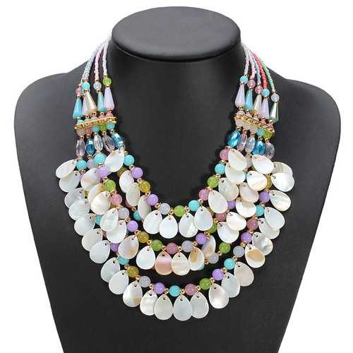Bohemia Crystal Teardrop Water Drop Multilayer Pendant Statement Necklace