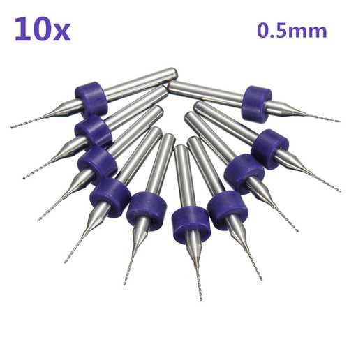 10pcs 0.5mm Mini PCB Drill Bits For CNC Print Circuit Board Tungsten Steel