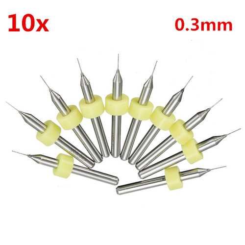 10pcs 0.3mm Mini PCB Drill Bits For CNC Print Circuit Board Tungsten Steel