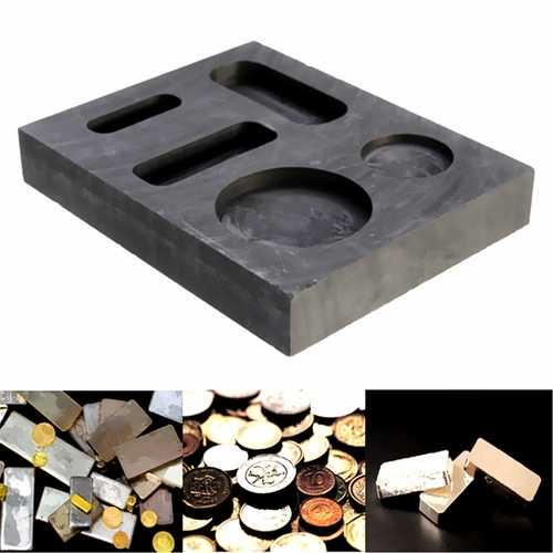 10 OZ Graphite Crucible Ingot Bar Combo Mold For Silver Gold Melting Casting