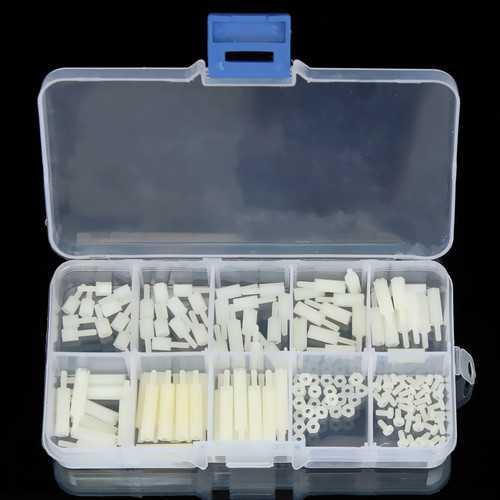 Suleve™ M2NH2 M2 Nylon Screw White Hex Screw Nut Nylon PCB Standoff Assortment Kit 140Pcs