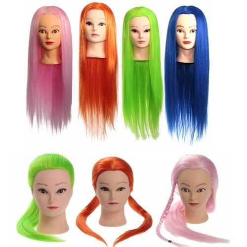 27 Inch 100% KANEKALON High-temperature Hair Training Mannequin Head Salon Practice