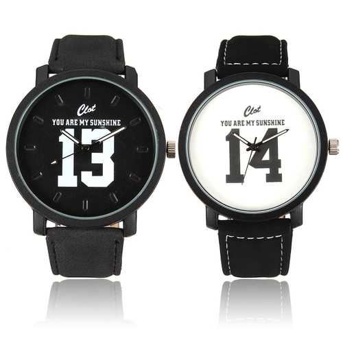 Casual Big Dial PU Leather Band Unisex Analog Watch