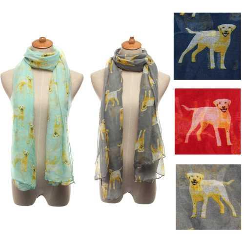 Women Scarf Winter Warm Animal Dog Print Puppies Shawl Wrap Pashmina