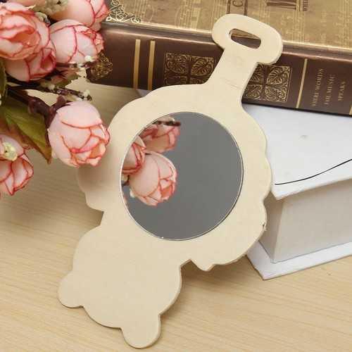 13*8CM Clean Wooden Mirror Creative Toys For Children Kids DIY Painting Design