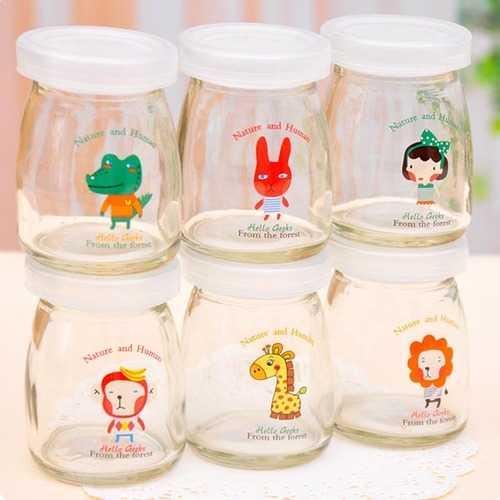 100ML Cartoon Glass Pudding Yogurt Bottle High Temperature Resistant