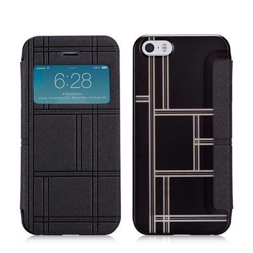MOMAX Smart Window View Flip PU Leather Cover Protective Case For iPhone 5S