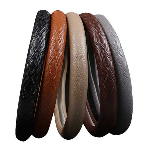 15 Inches Plaited Ripple Cowhide Leather Steel Ring Wheel Cover Black Brown